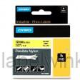 Dymo 18490 RHINO flexibele nylontape zwart op geel 12mm
