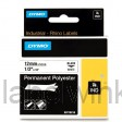 Dymo RHINO 18483 Permanente Polyester Tape zwart op wit 12mm