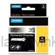 Dymo RHINO 18485 Permanente Polyester Tape zwart op gemetaliseerd 9mm
