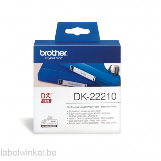 DK-22210 Doorlopende papier tape 29mm x 30,48m - wit - zelfklevend