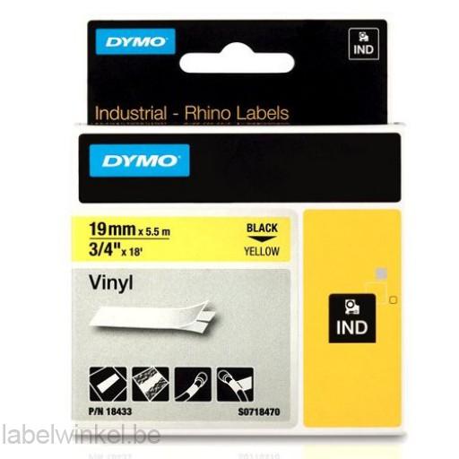 Dymo 18433 RHINO vinyl zwart op geel 19mm