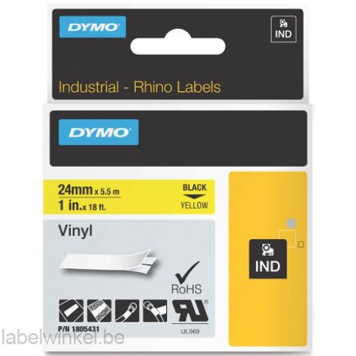 Dymo RHINO 1805431 vinyl zwart op geel 24mm