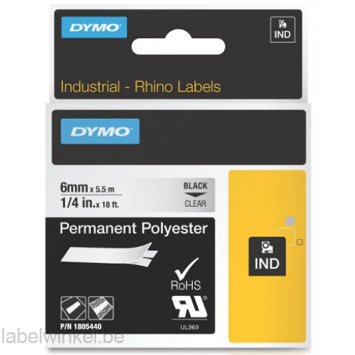 Dymo RHINO 1805440 permanent polyester zwart op transparant 6mm
