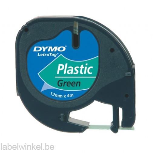 Dymo 91204 LetraTag tape zwart op groen