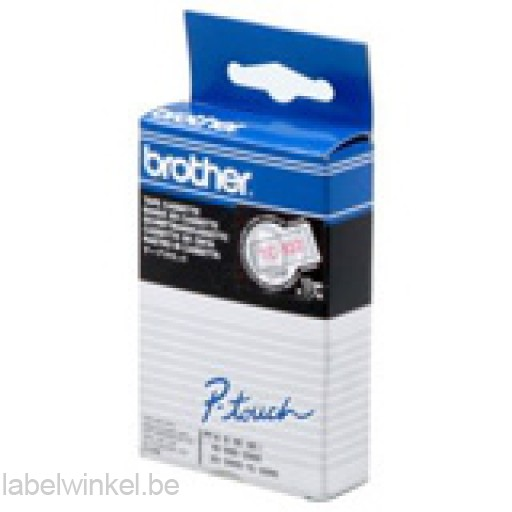 Brother TC-102 Tape Rood op helder, 12mm.