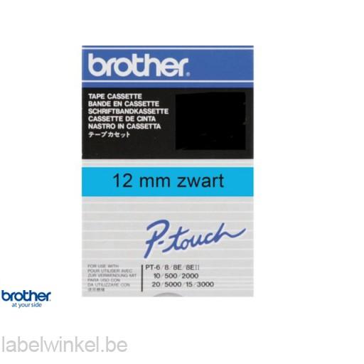 TC-501 lettertape zwart op blauw, 12mm breed