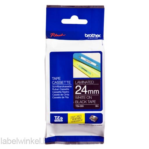TZe-355 24mm Wit op Zwart