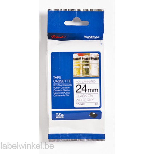 TZe-N251 24mm zwart op wit - niet-gelamineerd