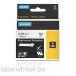 Dymo 1734523 RHINO permanent polyester zwart op wit 24mm