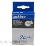 Brother TC-291 Tape Zwart op wit, 9mm.