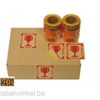 Cleverpack Etiket Breekbaar rood 80x100mm