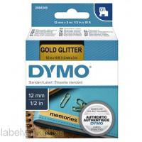 Dymo 2084349 D1 tape zwart op goud glitter 12mmx3m