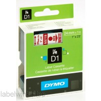 Dymo 53715 D1 Tape 24mm x 7m rood op wit