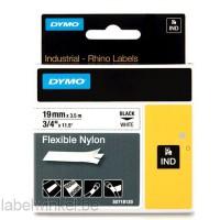 Dymo RHINO 18489 flexibele nylontape zwart op wit 19mm