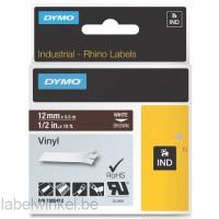 Dymo RHINO 1805412 vinyl wit op bruin 12mm