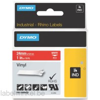 Dymo RHINO 1805429 vinyl wit op rood 24mm