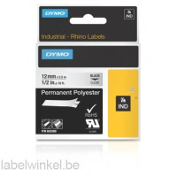 Dymo 622289 RHINO permanent polyester zwart op transparant 12mm