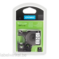 Dymo 16958 D1 flexibel nylon 19mm zwart op wit
