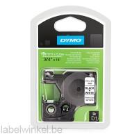 Dymo 16960 D1 permanent polyester 19mm zwart op wit