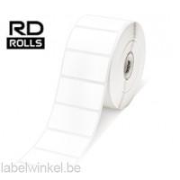 RD-S05E1 Gestanst papier etiket 26 x 51mm - wit - verwijderbaar 12 rollen